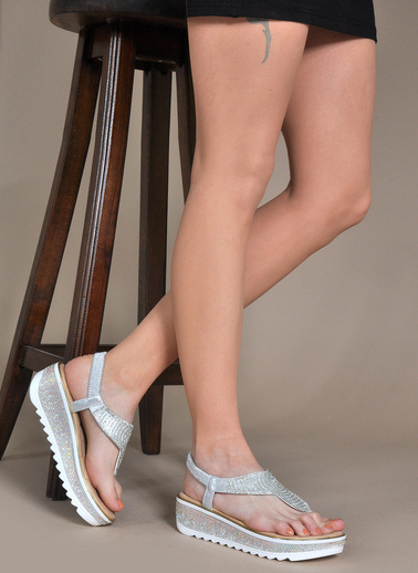 Vizon Ayakkabı Sandalet Gümüş